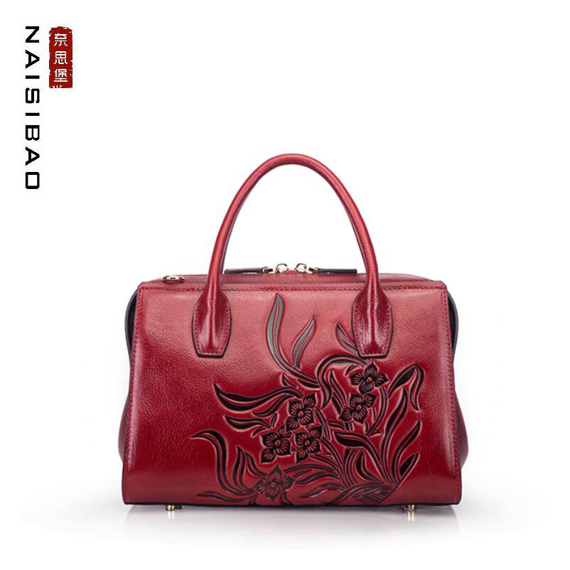 NAISIBAO high quality fashion luxury brand 2019 new shoulder bag handbag first layer leather retro embossed national wind lady NAISIBAO high quality fashion luxury brand 2019 new shoulder bag handbag first layer leather retro embossed national wind lady