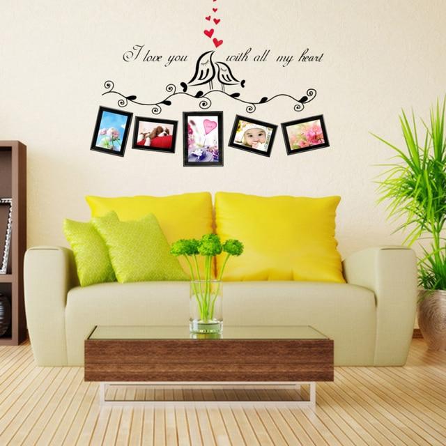 Couples Love Bird Cartoon Wall Sticker Home Decor Living Room Modern ...