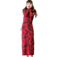 European streetwear spring long hoodie dresses plus size dress women red Camouflage women's pullover sweatshirt dress shirts