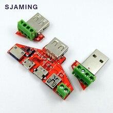 Suporte tipo c mini micro usb iphone5s/6 s relâmpago protocolo único fio braçadeira usb placa de teste de transferência de dados usb adaptador