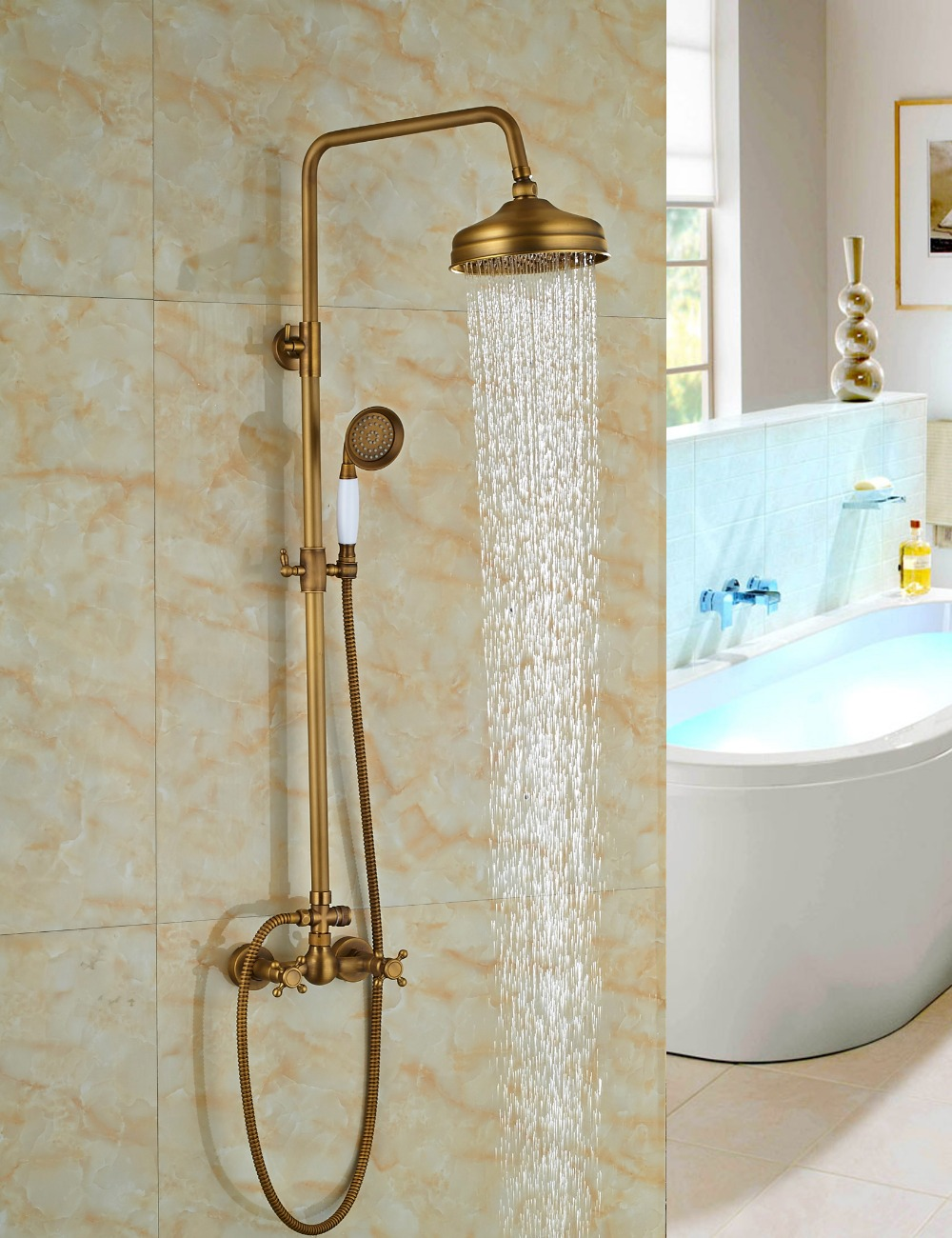 Wholesale And Retail Promotion Luxury Antique Brass Rain Shower Head Faucet Valve Mixer Tap W Hand Shower Sprayer 2 Handle In Shower Faucets From