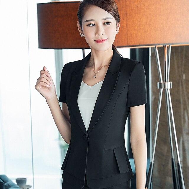 ae938ea4c25e10 Professionelle weibliche kurzhülse rock anzüge kleidung mode sommer frauen  formalen arbeitskleidung Business blazer mit rock plus