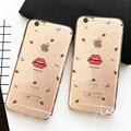 Moda sexy lábios caso claro para o iphone 6 6 s plus caso 4.7/5.5 Casos de Telefone bonito Do Brilho de Bling Boca Vermelha Suave Tampa Traseira Capa NOVA
