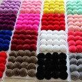 20 Colores Bola de la Piel Verdadera 6 cm Pompón pompones de Conejo Llavero Coche bola llavero de piel de piel de marca pompones diy bolsa con encanto Ponpon