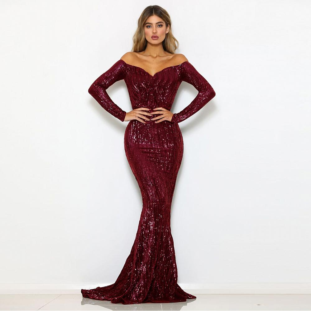 Burgundy Off The Shoulder Sequined Full Sleeved Slash Neck Party Dress Gown Sexy Dresses Stretch Maxi