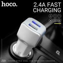 цена на hoco in car charger dual usb port charging adapter portable car charger power adapter usb socket for iphone android cell phone