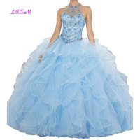 Organza Crystals Beaded Ball Gown Quinceanera Dresses Sweet Vestidos De 15 Anos Custom Made Sky Blue Halter Long Prom Gowns