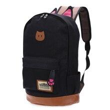 Fashion Women Bags Canvas Women's Backpacks Cat For Teenagers Backpacks High Quality School Backpack Female Mochila New 2017