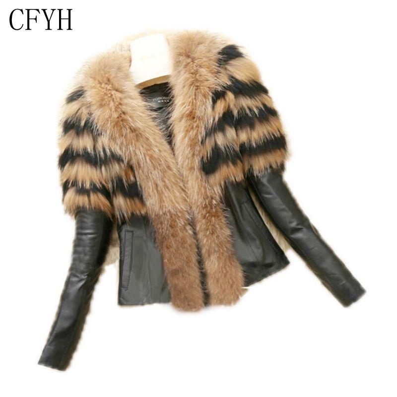 CFYH 2018 High Quality High Lmitation Sheepskins Fur Coat PU Sleeves Warm Winter Coat Raccoon Dog Fur Coat Big Yards Overcoat