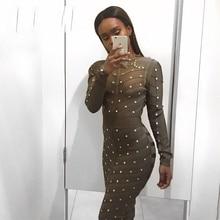 Платье по колено облегающее Сетчатое с длинным рукавом и бусинами