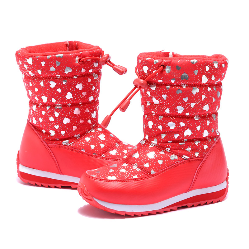 Kids Boots For Girls 2017 Winter Children Shoes Heart Print Waterproof Snow Boots High Quality Toddler Boots high quality kids boots girls boots fashion leather snow boots girls warm cotton waterproof girls winter boots kids shoes girls