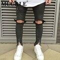 Hi-Calle Hombres Destruidos Jeans Tobillo Diseñador Cremallera Streetwear Ripped Denim Pantalones Para Hombre Multi Cremallera Slim Fit Jean corredores
