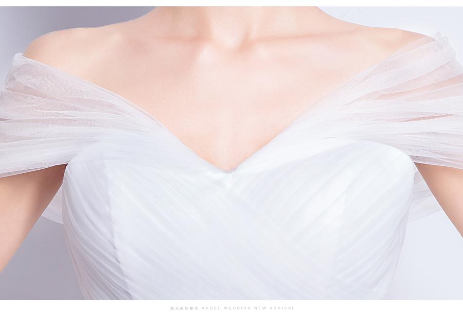 Angel Wedding Dress Marriage Evening Bride Party Prom Bridal Gown Vestido De Noiva 2017 Boat Neck asymmetrical7207 17