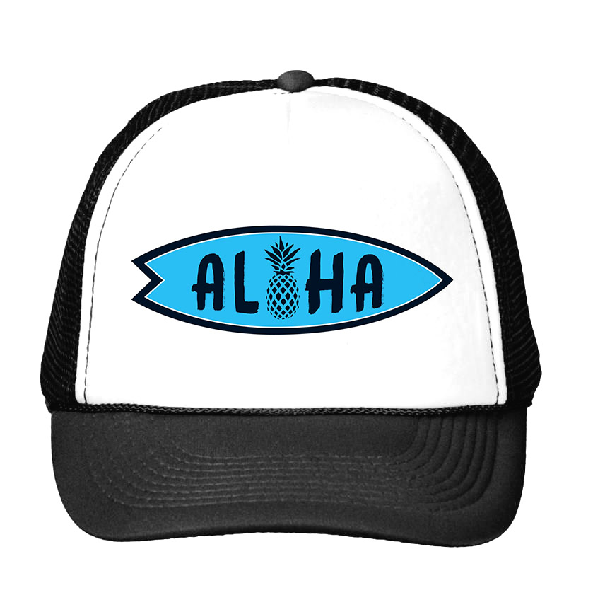 blue aloha pineapple Print Baseball Cap Trucker Hat For Women Men Unisex Mesh Adjustable Size Drop Ship CU-2 big dice t