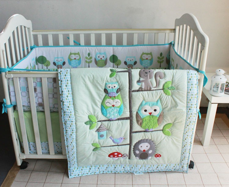 Promotion! 7pcs Embroidery Owl Baby Cot Crib Bedding Set ,include (bumpers+duvet+bed cover+bed skirt)
