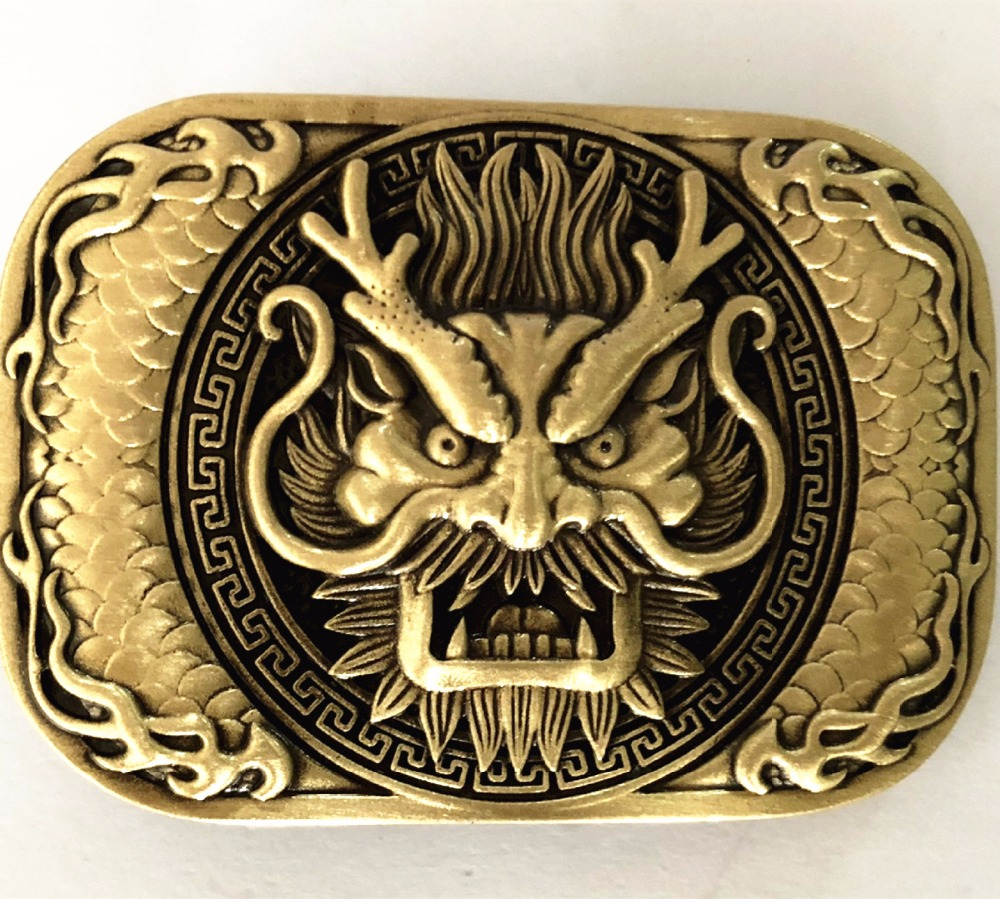 Pure Copper Vintage Antique Belt Buckle Dragon Head Western Cowboy Mens Fashion Fine Accessory