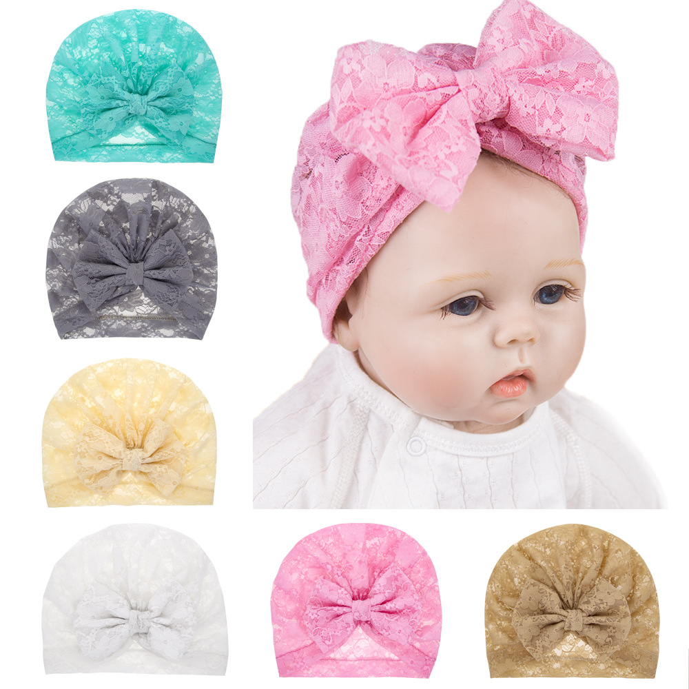 Yundfly Cute Lace Bowknot Kids Turban Hat Hair Bows Newborn Beanie Caps Headwear Summer Hats Birthday Gift Photo Props