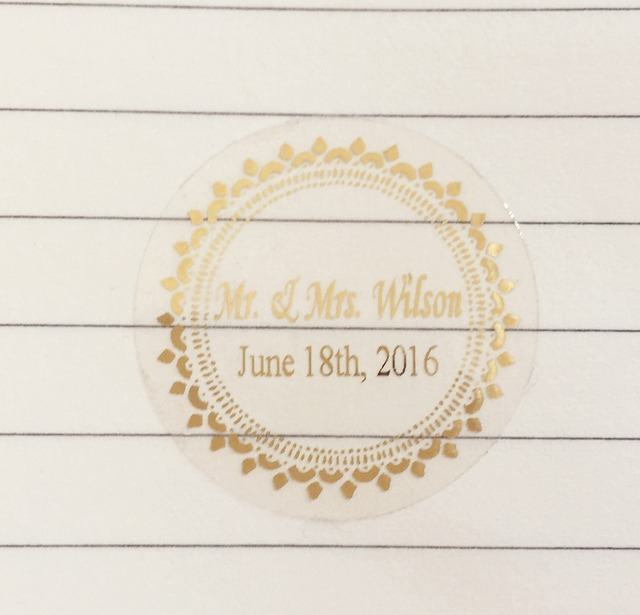 90 pcs 3 cm wedding decoration favors stickers personalise custom waterproof invitation envelops gold transparent seals