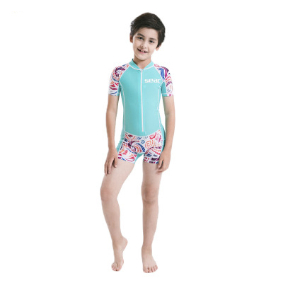 Neoprene Short Sleeves Kids Wetsuits Diving Suits for Boys/Girls Children Rash Guards One Pieces Surfing Swim Snorkel