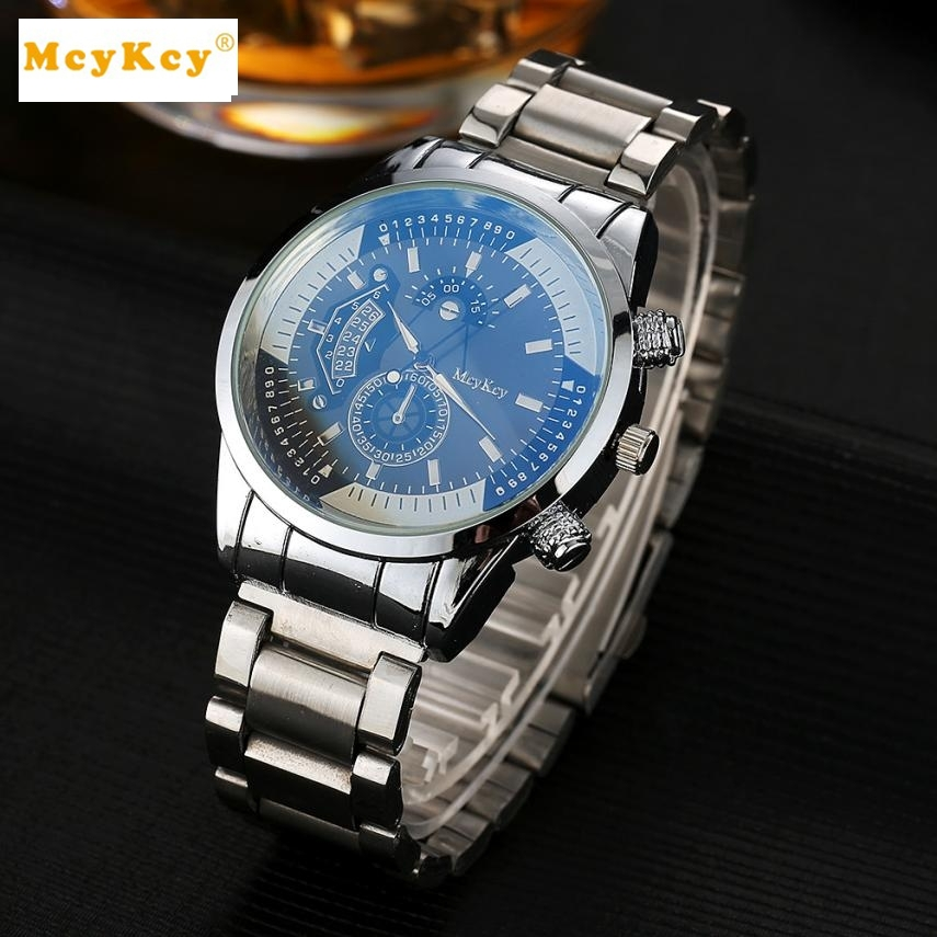 McyKcy Saat erkekler Hot Sale Stainless Steel Men watches  Analog Quartz Wrist Watch Relogios masculino #YB newly design dress ladies watches women leather analog clock women hour quartz wrist watch montre femme saat erkekler hot sale