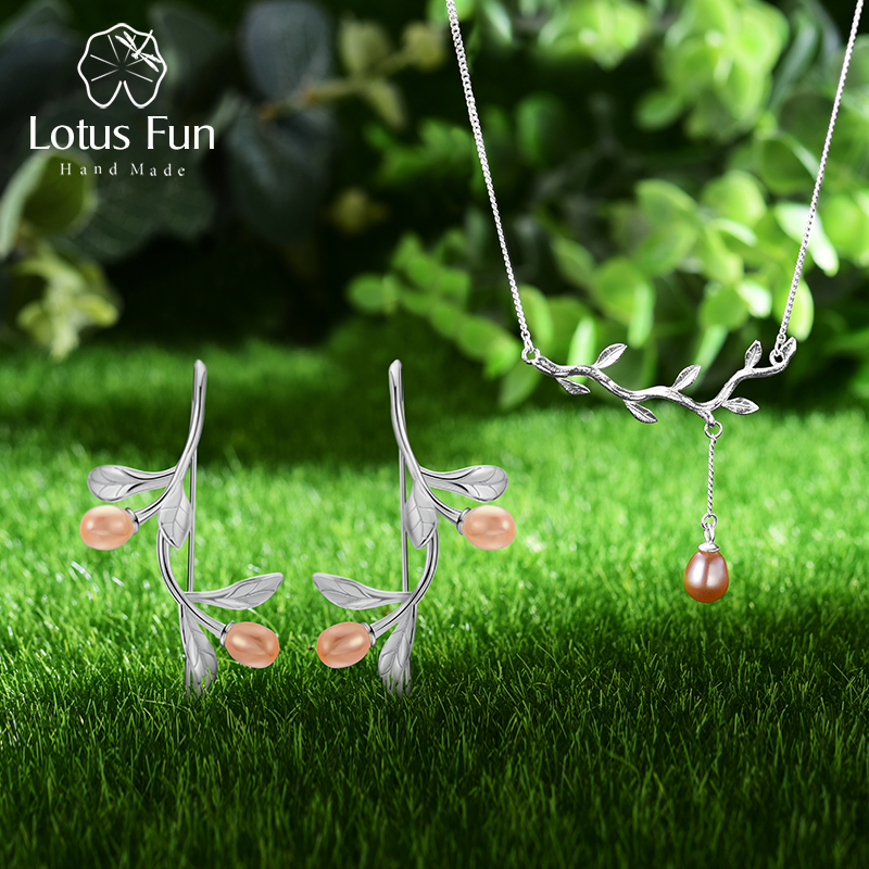 Lotus Fun Real 925 Sterling Silver Natural Pearl Fine Jewelry Waterdrop from Olive Leaves Jewelry Set