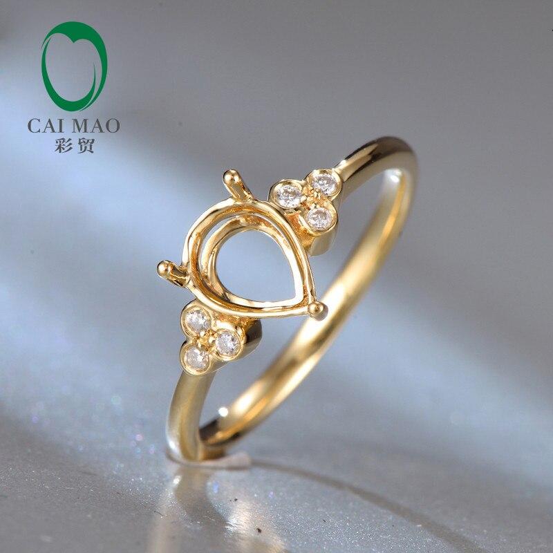 18Kt Yellow Gold Diamond Semi Mount Engagement Ring Setting Pear 6x8mm