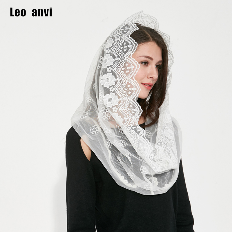 2018 Leo anvi newest designer   scarf   tube lace novelty headband Flowers women winter infinity   scarf   type cotton shawls and   wraps