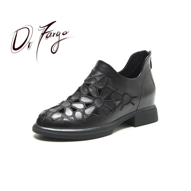 Drfargo Breakthrough Donne Di Scarpe Tacchi Estate Bassi 82516 35 Genuino  Casual Del Cuoio Fiore Zip ... d85fb4e7bff