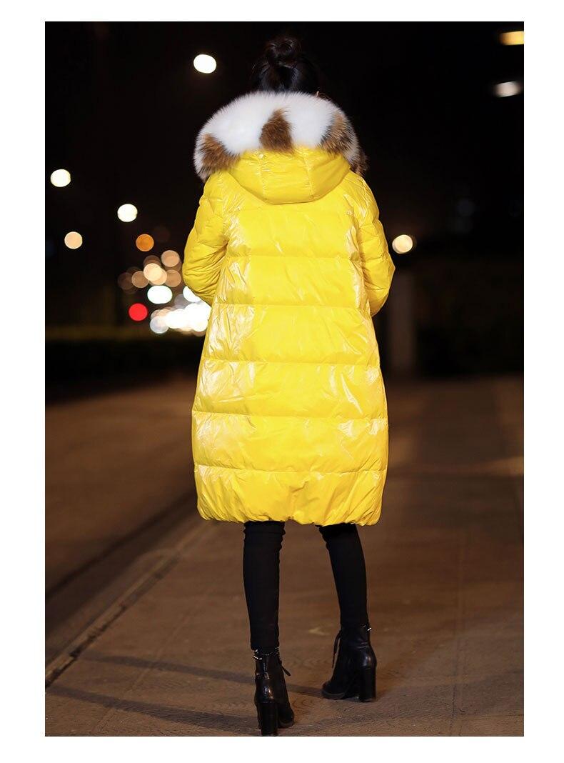 Manteau Ciel À Fourrure Mode Épaissie Réel 2018 bleu Capuchon Beige Longue pu Coréenne rouge Col Vêtements Hiver Doudoune Version Chaud Femmes jaune De aP7x4