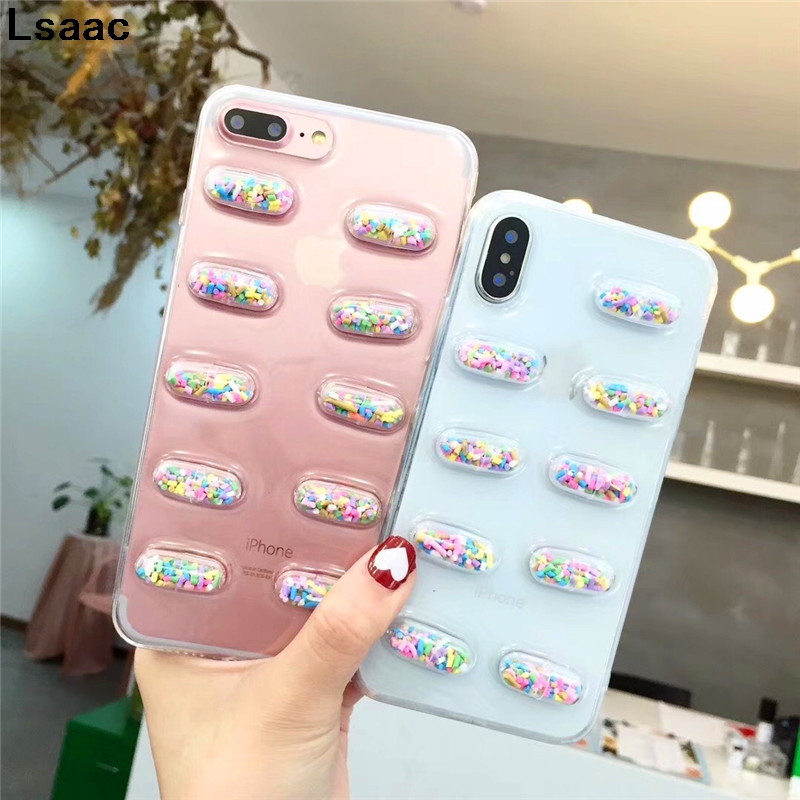 3D Cartoon Capsule Doll Phone Case For iPhone X Fashion Clear TPU Colorful Stereoscopic Back Cover For iphone 6 6S 7 8 Plus