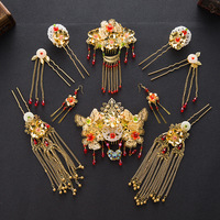 Chinese Bride Headdress Pieces Set Of Three Pieces Of Clothing Xiu He Bride Coronet Retro Bride