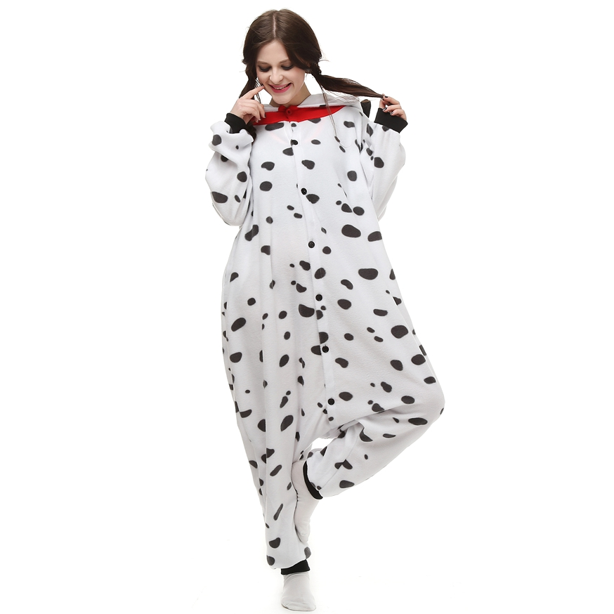 Adults Polar Fleece Kigurumi Dalmatian Dog Costume Animal Onesie Pajamas Halloween Carnival Masquerade Party Jumpsuit Clothing
