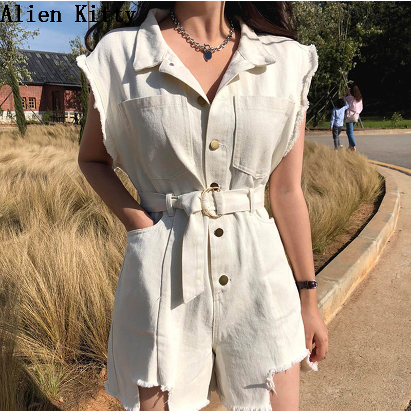 Alien Kitty Playsuits Solid 2018 Button Creamy-White Turn-Down Collar Soft Short- Sleeved Tops+Shorts Women Loose Comfortable