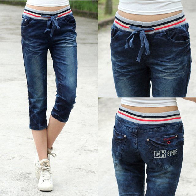 2016 Special Offer Cotton Mid Jeans For Women In The Summer Of New Large Size Elastic Waist Jeans Denim Pants Seven Female