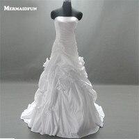 2017 Real Photos Mermaid Pleated Flower Lace Up Back Custom Made White Ivory Wedding Dresses Bridal