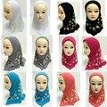 10 unids Niñas Niños Pretty Hijab Musulmán Árabe Islámica Chales Bufanda Patrón de Flores Al Por Mayor