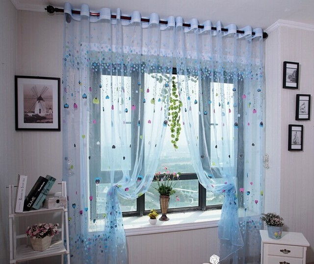 Chinese Living Room Drapes Fashion Window Screening Tulle Curtains Finished Product
