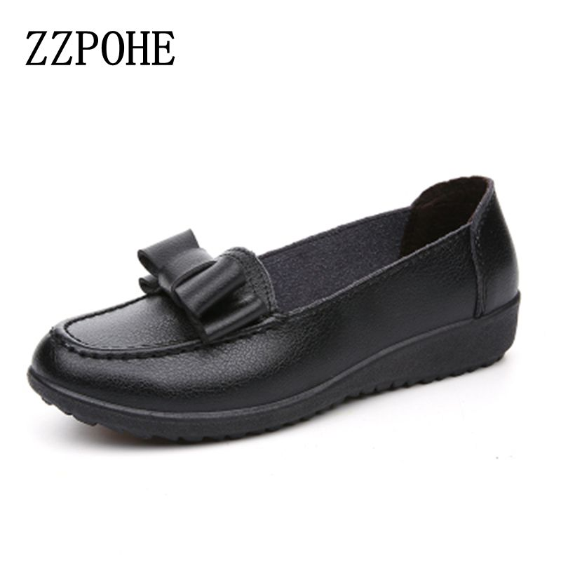 ZZPOHE 2017 Spring autumn new Women fashion shoes lady Soft bottom casual shoes comfortable non-slip black woman flat shoes hevxm 2017 spring new ladies fashion casual flat bottom high white shoes women hollow comfortable breathable embroidered shoes