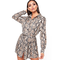 2019 Spring Women's dresses snake print shirt Dresses Plus Size Long Sleeved Sexy Party Night Club Dress Z618