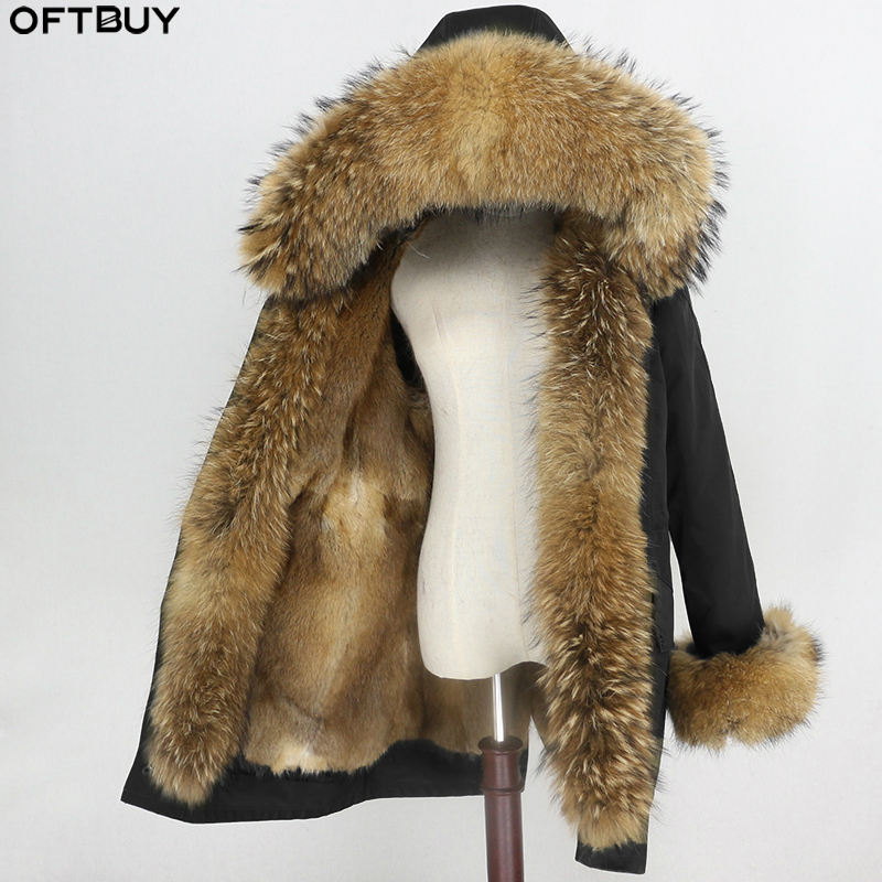 Natural Mink Fur Lining Waterproof Parka Real Fur Coat Winter Jacket Women Raccoon Fur Collar Hood Cuffs Detachable Streetwear