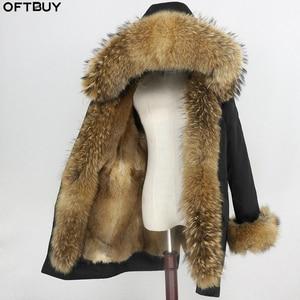Image 1 - טבעי מינק פרווה בטנה עמיד למים אמיתי Parka פרווה מעיל חורף מעיל נשים דביבון פרווה צווארון הוד חפתים נתיק Streetwear