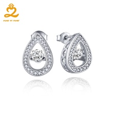 Heart By Heart Costume Jewelry Earrings 925 Sterling Silver Water Drop Style for Women Dancing Natural Topaz Jewelry Wholesale