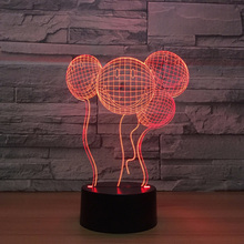 ФОТО 7 colors changing home romantic decor 3d visual smiling face balloons modelling led night light kids touch button usb table lamp