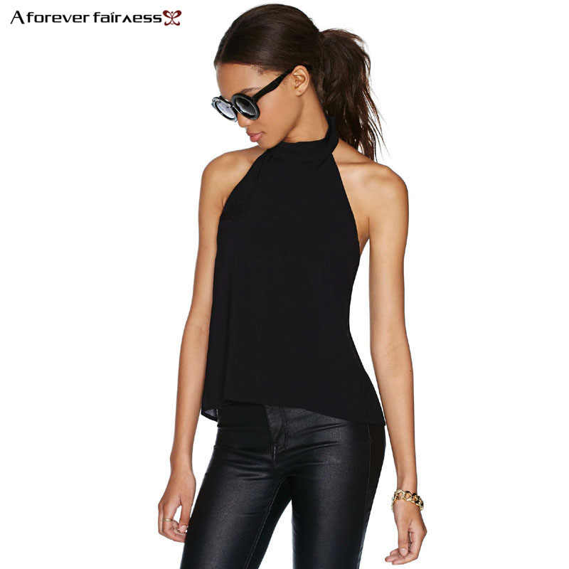 A Forever 2019 Summer Women Tops Halter Neck Strapless Sexy Backless Lace Stitching Black Casual Camiseta Tank Tops Vest AFF509