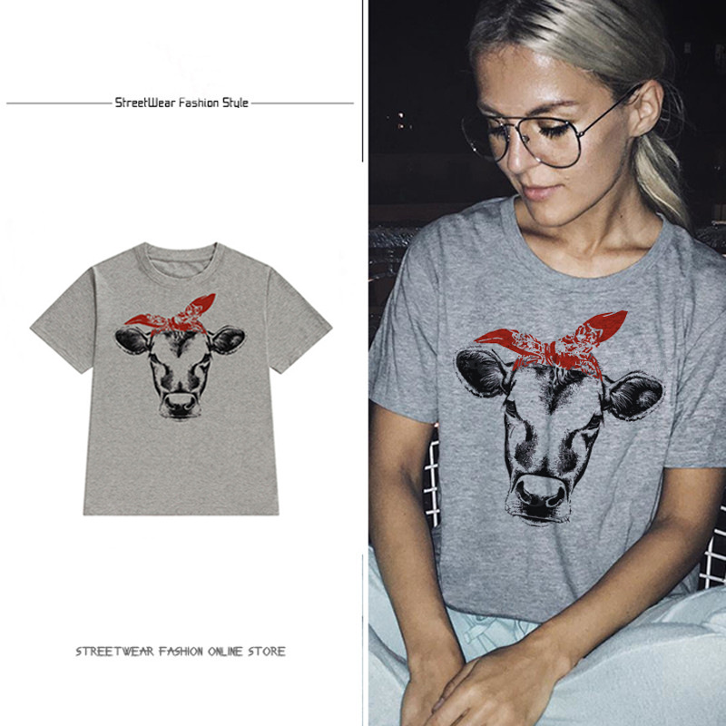 cows tshirt plus size streetwear top women aesthetic 90s cotton animal o neck thanksgiving tee girls 2019 vintage in T Shirts from Women 39 s Clothing