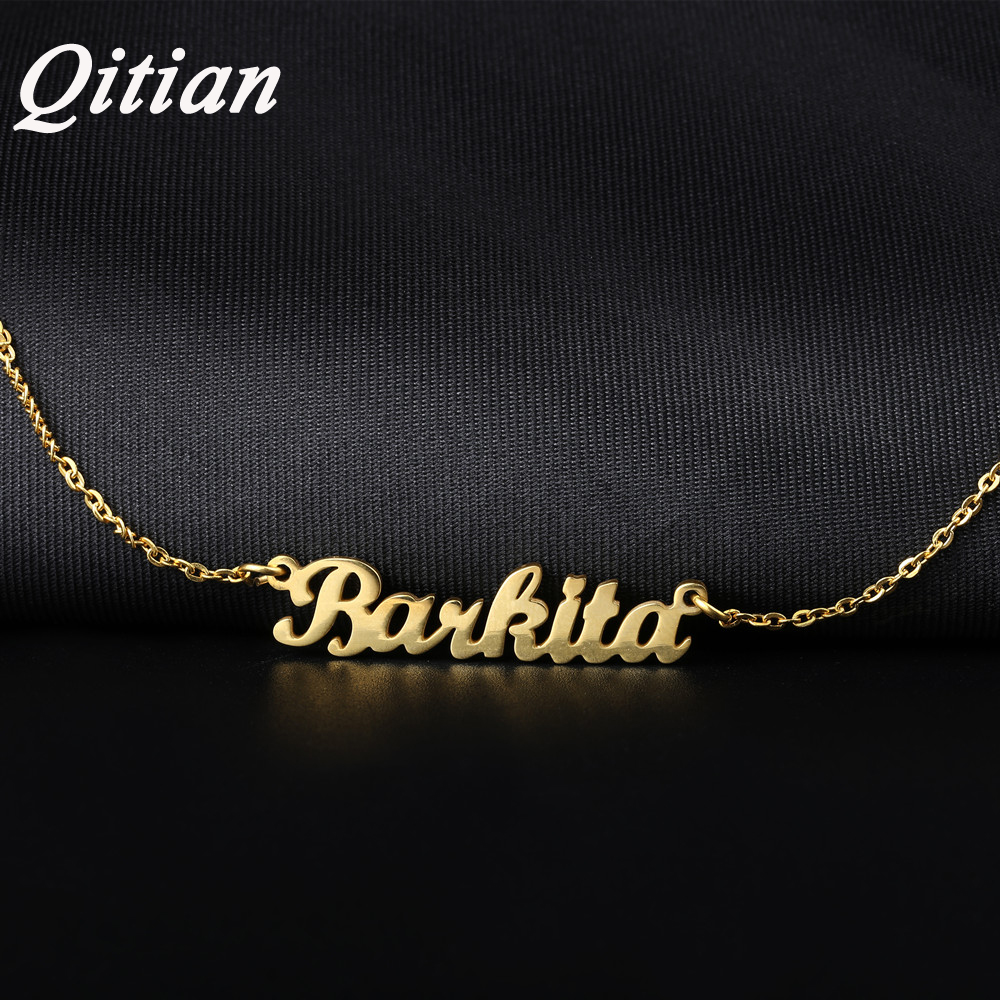 Qitian Name Necklace Gold Color Stainless Steel Personalized Custom Necklaces,Custom Name Necklace, Personalized Name Pendant