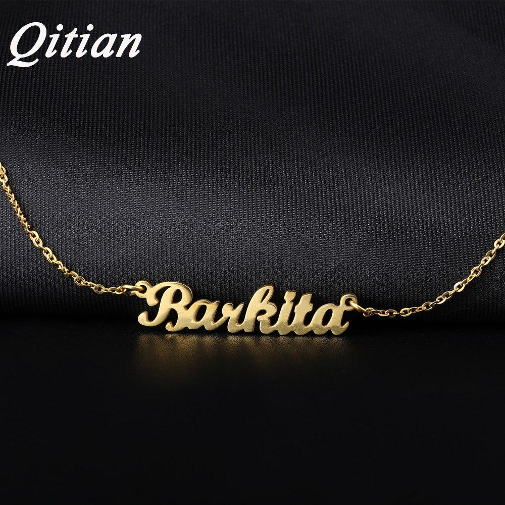 Qitian Nome Colar de Ouro Cor de Aço Inoxidável Personalizado Placa de Identificação Pingente Gargantilha Colares Para O Presente Não Mudam de Cor
