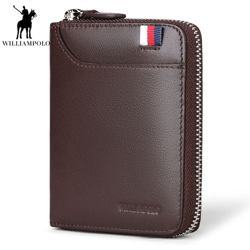 Williampolo Cow Leather Men Short Wallet Casual Genuine Leather Zipper Purse Male Standard Card Holders Wallets For Men PL283 цена
