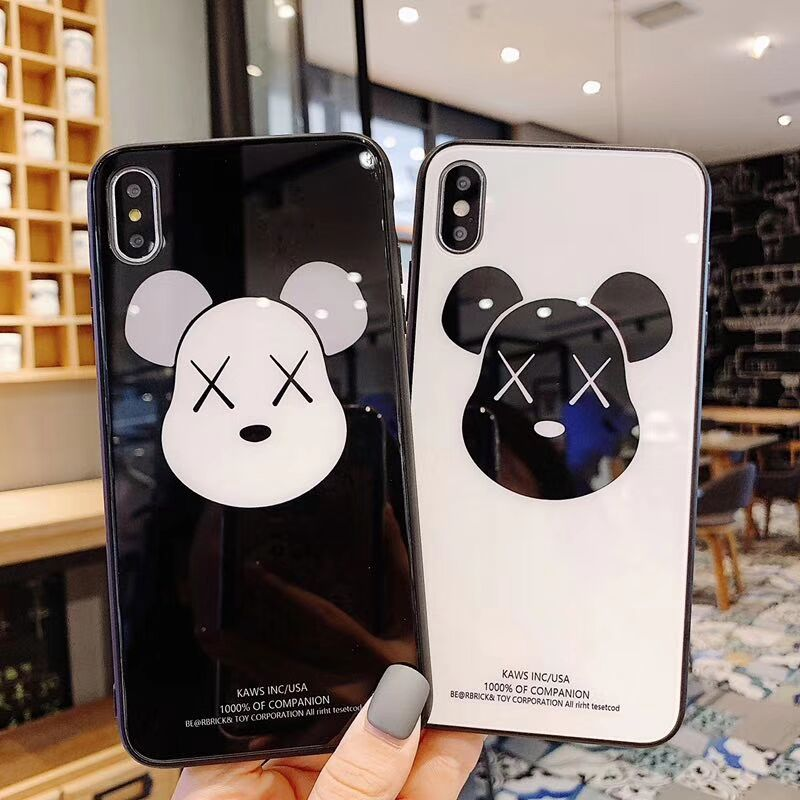 Luxury Personality Cute Cartoon bear pattern case For iPhone 6s 6 7 8 Plus X XR XS MAX border Tempered Glass Phone cases