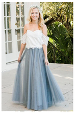 Off The Shoulder Wedding Dress Sky Blue Lace Top Bride Dress Short Sleeves A-line Romantic Vestido Novia Cheap High Quality sky blue stripe off the shoulder 3 4 length sleeves bodycon dress